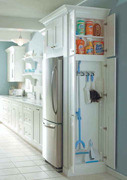 small closet idea for cleaning tools and supplies