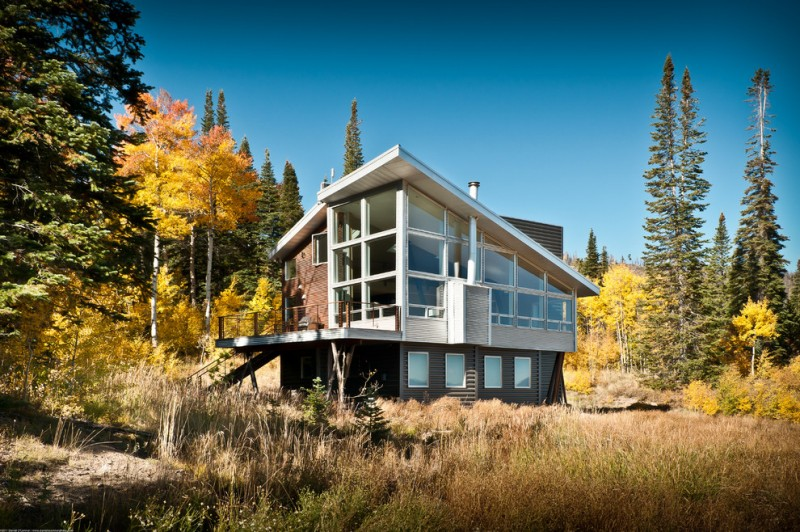 small modern mountain house with angled roof and ceiling, steel beams inside to prorps ceiing, airy rooms