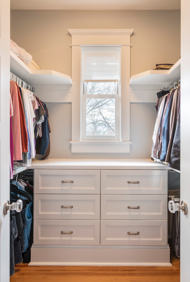 small size walk in closet organizer in white wood color flooring system small and narrow pull up window with semi transparent white shutter