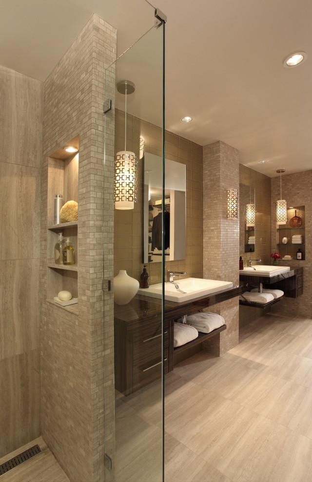 small tiled wall beige wall wooden floor contemporary dark wooden cabinet walk in closet built in shelves