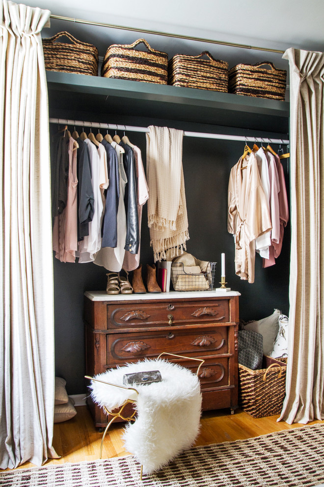 small walk in closet idea with white hang section upper shelf classic pull out drawer system with surface for putting the footwear