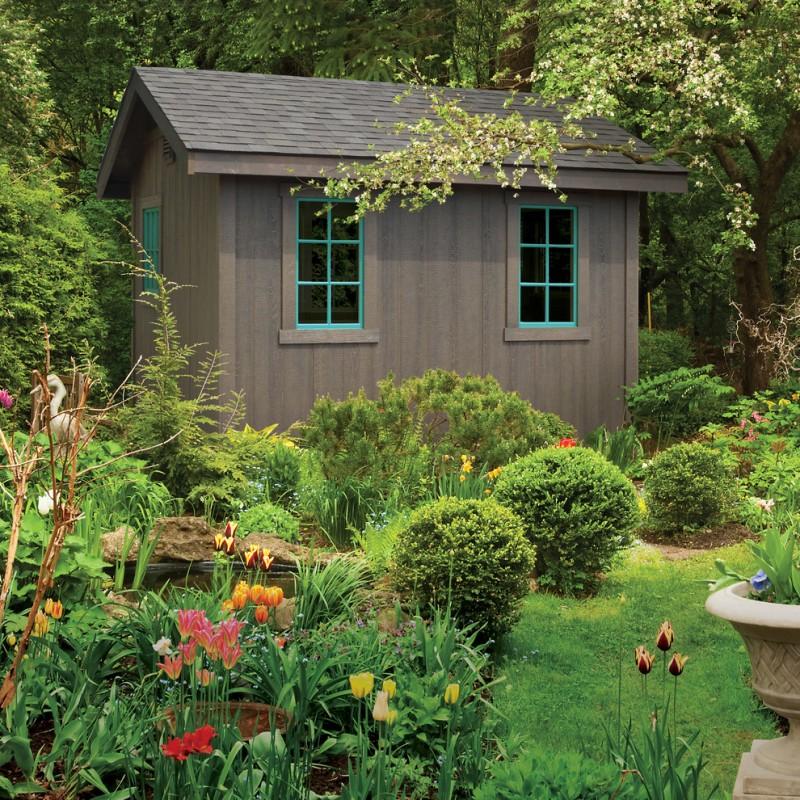 soft black finish shed with blue framed glass windows