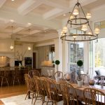 Table Cloth For Wood Dining Room Table Chairs Carpet Wood Floor Hanging Lamps Glass Windows Cabinets
