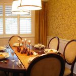 Table Cloth For Wood Dining Room Table Chairs Wall Decor Curtains Hanging Lamps Window Forks Plates Glass