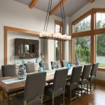 Table Cloth For Wood Dining Room Table Chairs Window Mirror Wood Floor Hanging Lighting Glass White Wall