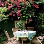 table cloth for wood dining room table outdoor area chairs flowers plants wooden table dining area