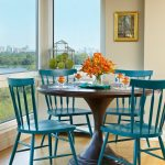 table cloth for wood dining room table wood floor blue chairs flowers painting window glass scenery