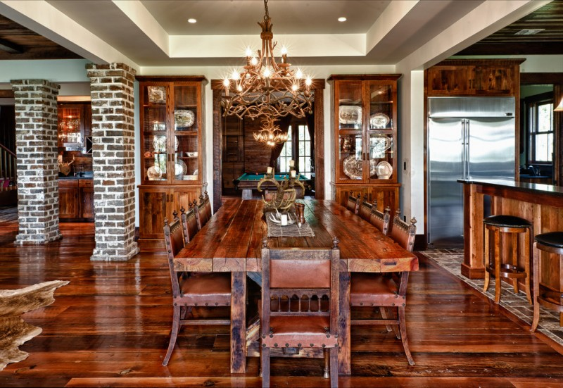 table cloth for wood dining room table wood floor chairs chandelier cabinets glass brick ceiling lamps