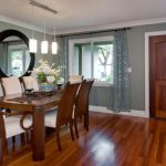 Table Cloth For Wood Dining Room Table Wood Floor Chairs Mirror Door Window Glass Flowers Hanging Lamp Curtains