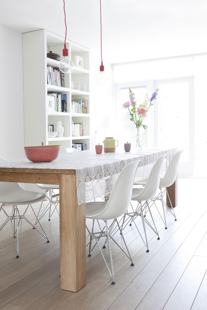 table cloth for wood dining room table wood floor white chairs flowers hanging lamps bookshelves brightness