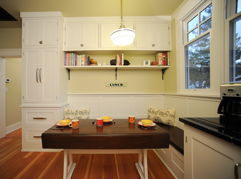 traditional corner dining table with built in cabinet and bench in white, dark brown bench top, dark brown table top