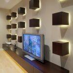 Tv Display Decoration Contemporary Home Theater Boxes Lights Freestanding Tv Shelf Interior Design