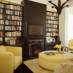 Tv Display Decoration Eclectic Living Room Carpet Seating Bookshelf Books Dark Floor Fireplace Storage