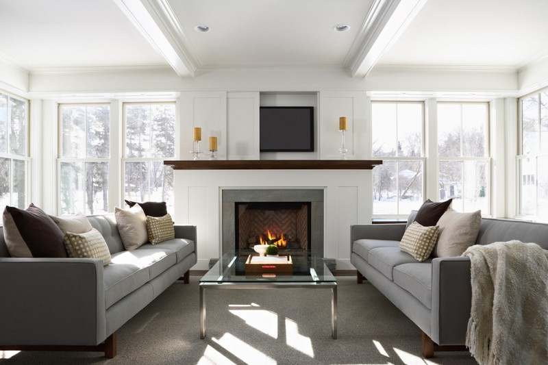 tv display decoration pop up television with automated lift sofa pillows windows glass fireplace table ceiling lamps