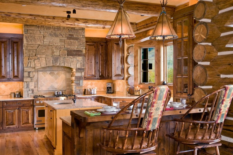 two floor stone and log house chairs kitchen dining table wood floor windows glass cabinets stove logs stones