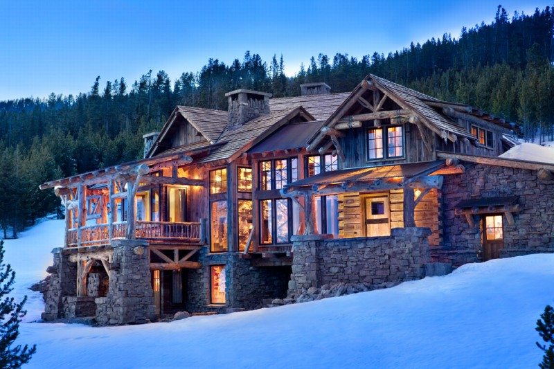 two floor stone and log house stone walls doors windows glass logs stones lighting lights