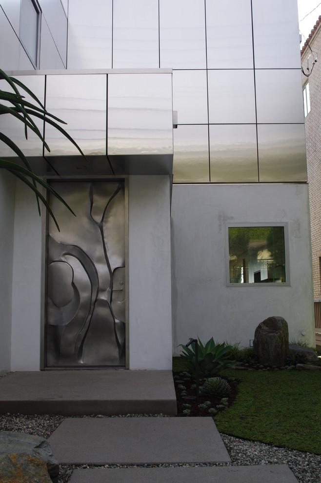 unique steel doors abstract design front door pathway window metal door grass tiles house exterior
