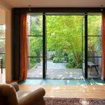 unique steel doors crittal steel wood floor bench carpet sofa lamp chairs doors glazing curtains interior