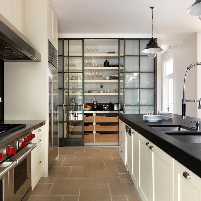 unique steel doors floor tile hanging lamp plates sink faucet cabinets stove window sliding doors glass