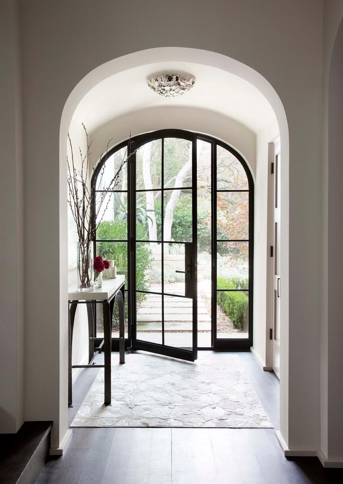 unique steel doors mediterranean style white wall wood floor door handle table glass interior design