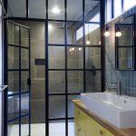 unique steel doors modern bathroom door faucet wash basin cabinet hanging light bulb steel and glass door shower room