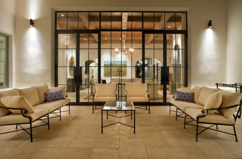 unique steel doors seating pillows table steel and glass door chandelier wall lamp floor tile painting