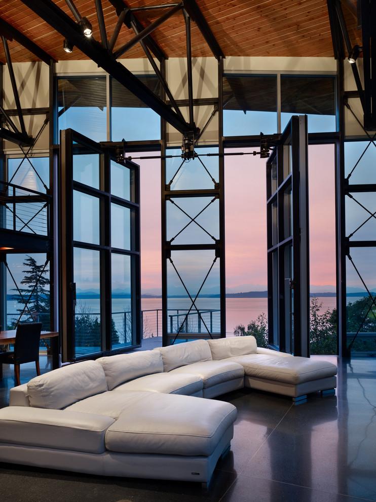 unique steel doors sofa retractable door chair table floor tile wooden ceiling landscape scenery railing lamps