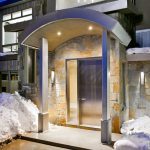 unique steel doors stainless pillars stones floor wall lamps contemporary style lighting stairs house exterior