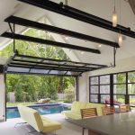 unique steel doors table chairs sofas steel and glass door windows hanging lamp swimming pool floor