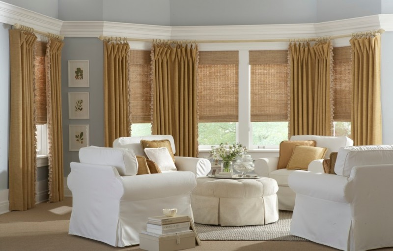 warm toned blinds and curtains idea white chair slipcovers white center table slipcover light grey rug with smooth texture light beige floors soft blue interior walls