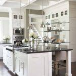 White Cabinet Black Granite Countertop Glass Floating Shelves Dark Hardwood Floor