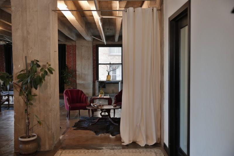white curtain divider