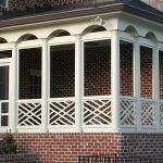 White Finishing Wood Railings Idea With Patterns Red Bricks Exterior Idea
