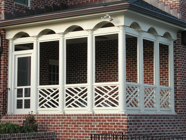 white finishing wood railings idea with patterns red bricks exterior idea