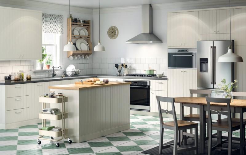 white flat panel cabinet white pendant lights retro floor wooden plate shelves square tiled wall