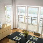 White Framed Glass Swing Door With Large White Framed Hooper Windows