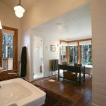 White Horizontal Wood Paneling In Bathroom