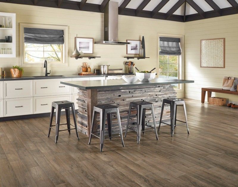 white horizontal wood paneling in kitchen