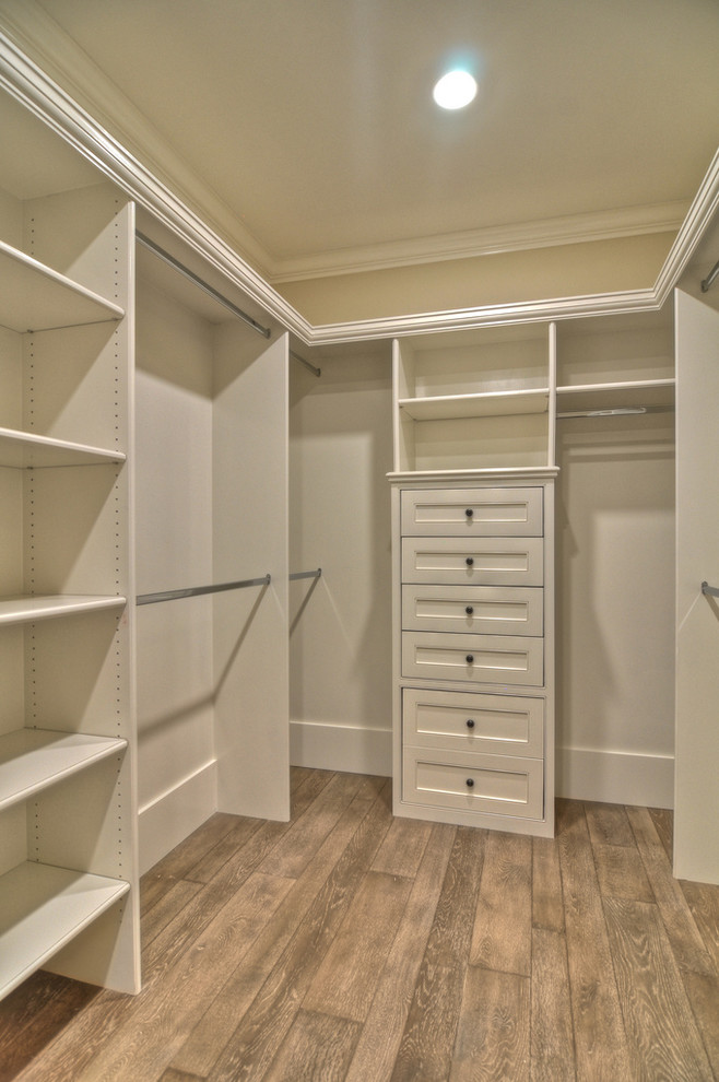 white melamine walk in closet idea with stainless steel hardware shabby wooden floors without finishing