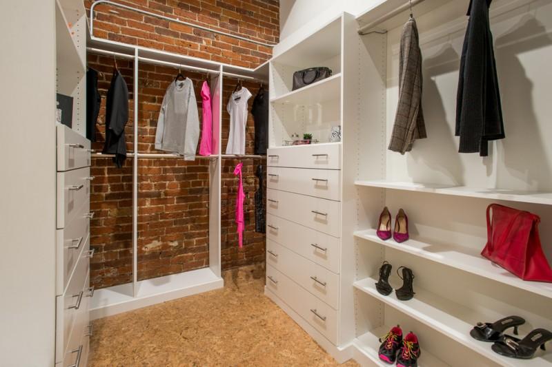 white melamine walk in closet organizer original red brick walls grain veneer floors idea