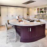 White Purple Theme Kitchen Idea Purple Kitchen Island With White Marble Top White Ceramic Floors White Shaker Cabinets White Cabinets Grey Backsplash White Cupboard Soft Grey Stools