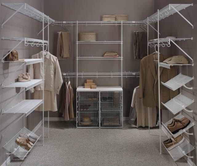 white wire made walk in closet organizer idea with boxes storage