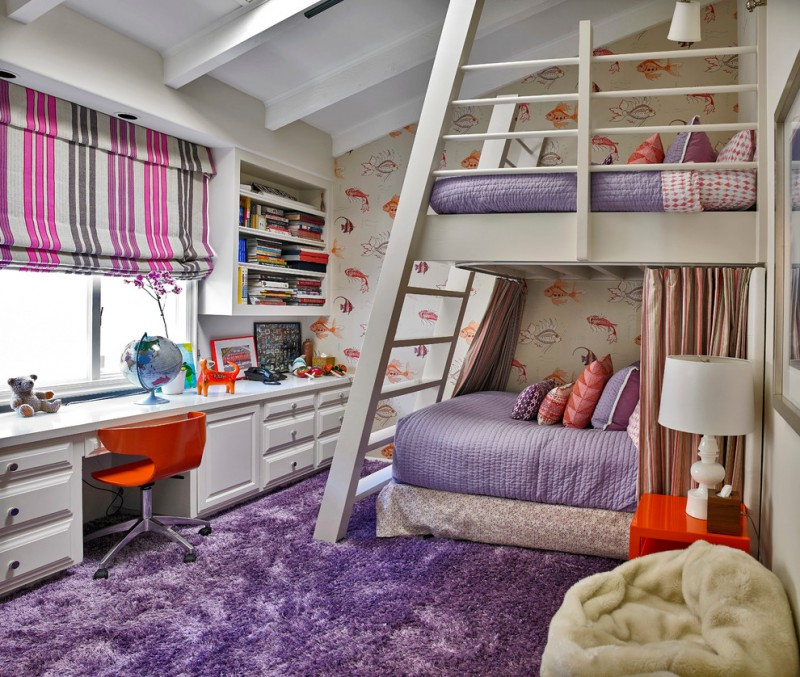 white wooden bunk beds with slanting stairs, rails for upper bed