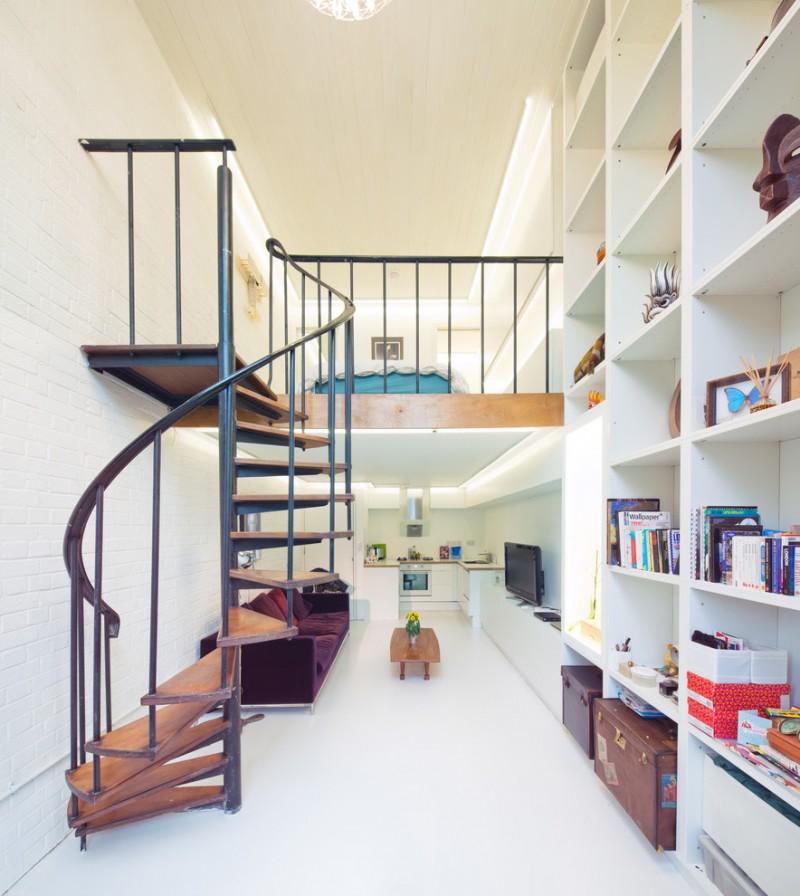 white wooden high shelves on the stair aisle