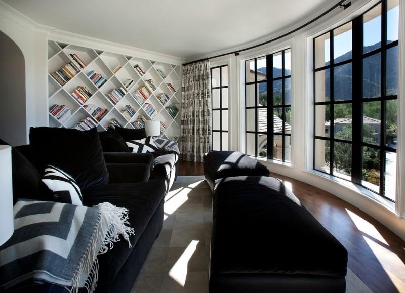 white wooden modullar book shelves accros the wall