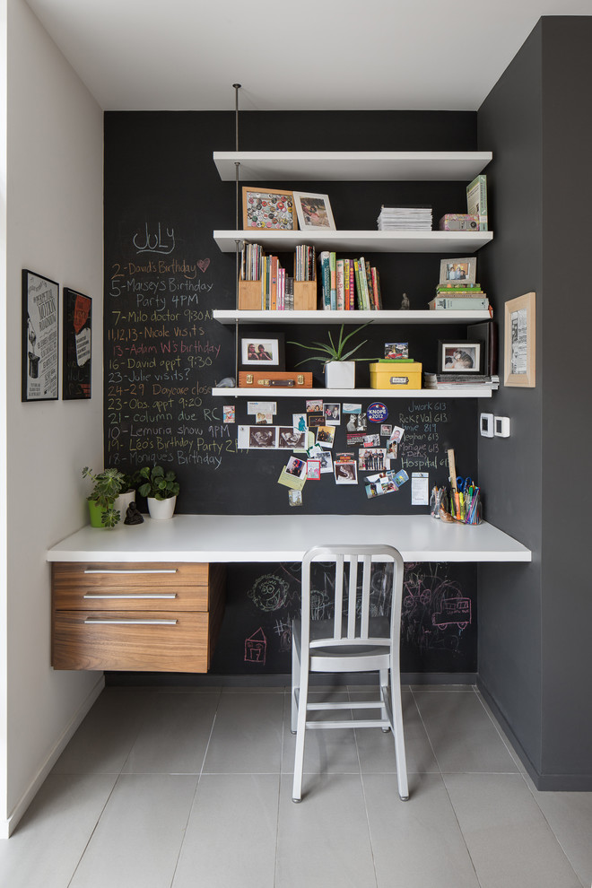 white wooden wall mounted book shelves supported by threaded rod