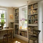 Whte Wooden Book Shelves Surrounded The Window