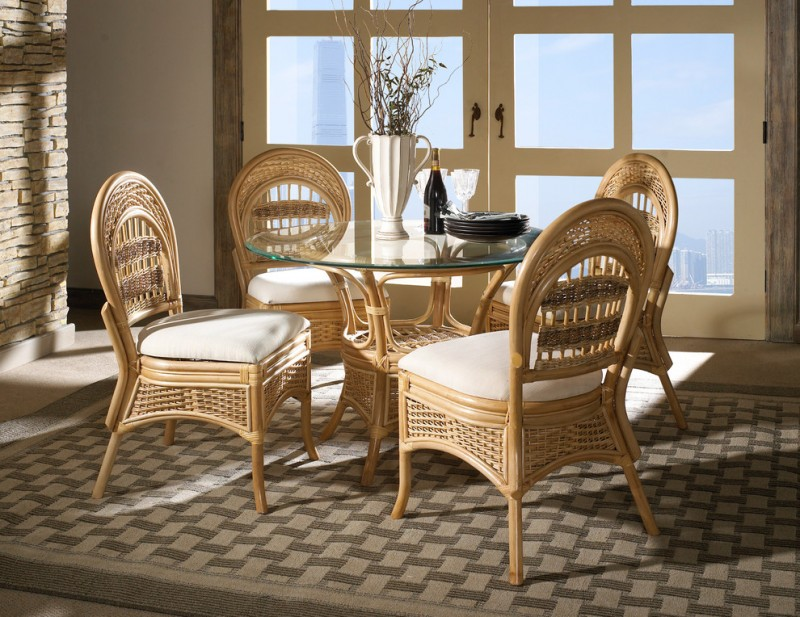 wicker chairs with white cushion