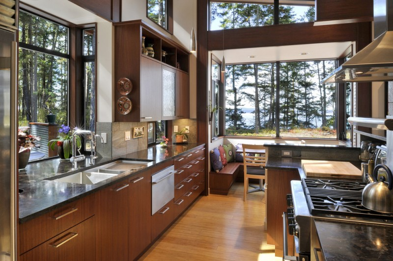 window outside finishing designs cabinets wood floor countertop faucet sink big windows bench pillows chair