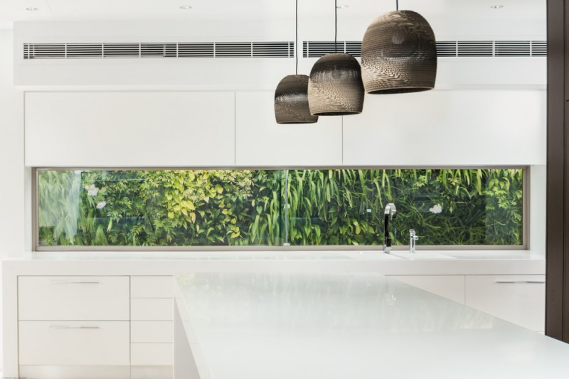 window outside finishing designs white wall cabinets glass long narrow window faucet sink hanging lights